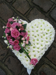 heart shaped funeral flowers